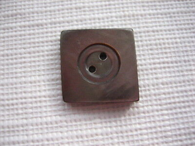 """Vintage Med 7/8"""" Smokey Mother Of Pearl MOP Shell Carved Square Button - P179"""