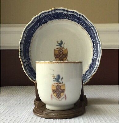 Antique Chinese Export Armorial Porcelain Teacup & Saucer, 18th Century