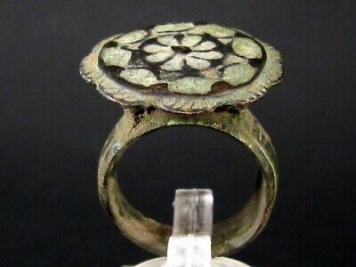 SUPERB LARGE BYZANTINE BRONZE RING in TOP FLORAL DESIGN+++TOP CONDITION+++