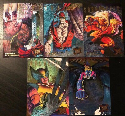 1995 Fleer Ultra X-Men Hunters & Stalkers Inserts Lot Of 5 Wolverine Sabertooth