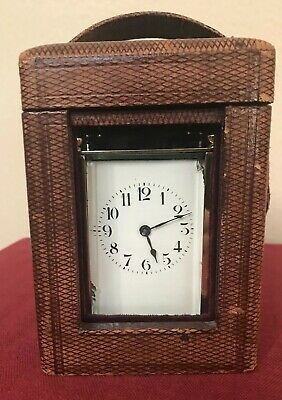 Antique 19thC French Brass Glass Carriage Clock Moroccan Leather Case Lion Mark