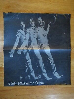 """Atco CREAM """"Farewell from the Cream"""" Poster ERIC CLAPTON GINGER BAKER JACK BRUCE"""
