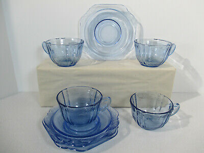 Madrid Cup Saucers Federal Recollections Glass Vtg Blue Floral Square 4 Sets 8pc