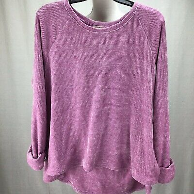 Style & Co. Women Long Sleeve Pull On Sweater Top French Orchid Sz L OE0466
