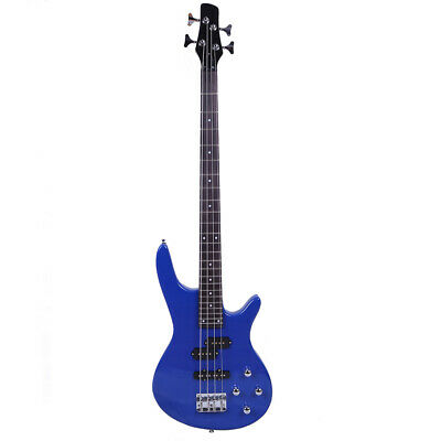 "New 34"" Basswood School Student Right Handed 4 Strings Electric Guitar Bass Blue"