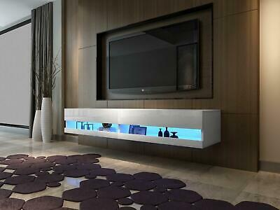 High Gloss TV Stand Cabinet with LED Lights   Entertainment Floating Wall Unit