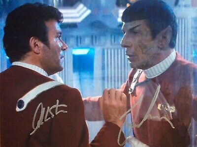 LEONARD NIMOY WILLIAM SHATNER 8 x 10 signed photo Star Trek Lovely COA FAB