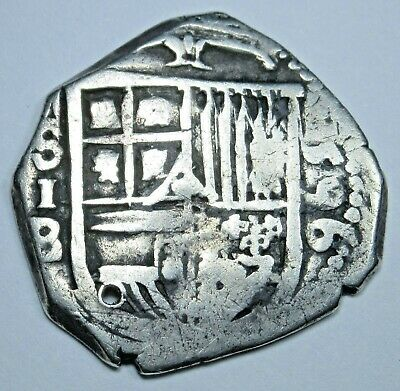 1596 Spanish Silver 1 Reales Piece of 8 Real Colonial Pirate Cob Treasure Coin
