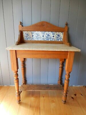 Antique 1920's Marble Top Tile Back Washstand Wash Stand Pine Small Cabinet Blue