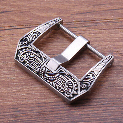 Retro Carved Stainless Steel Watch Clasp Buckle Fits PAN Leather Watch Band