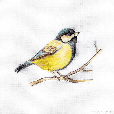 "Luca-S counted Cross Stitch kit ""Great tit"", 11,5x8cm, DIY"