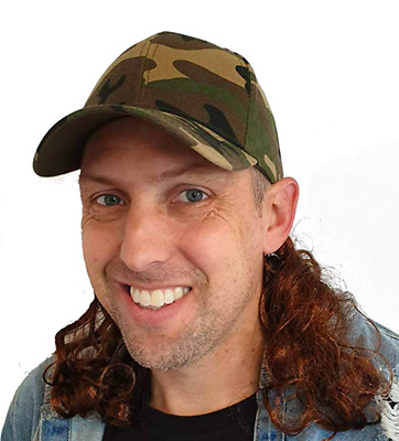 USA Camo Mullet Hat with Attached Brown Hair Wig for an All American Camouflage