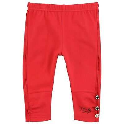 JEAN BOURGET Baby Girls red leggings with silver buttons up each side 18 months