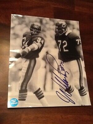"Signed B&W Photo William""The Refrigerator""Perry with Walter Payton 8x10 with COA"