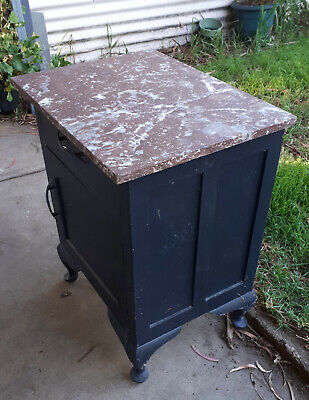 Washstand.  Marble top. Age unknown. Shed find. No reserve