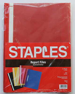 A4 report files. pack of 5.  Clear/Red. Staples. Unused.