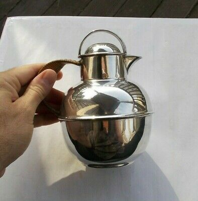 "RARE Vintage 6"" Silverplate Syrup Jug Pitcher Teapot Rattan Handle EGW&S Tea Pot"