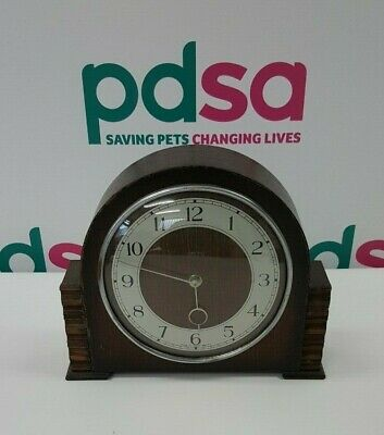 Vintage Wooden SMITHS 8 Day Wind Up Mantle Clock (Made in G. Britain) - P640