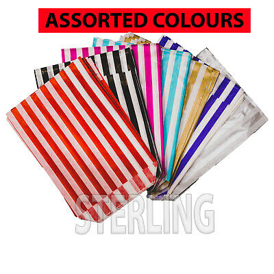 """100x PICK AND MIX PAPER BAGS CANDY STRIPE SWEET GIFT PARTY SWEETS  5""""x7"""""""