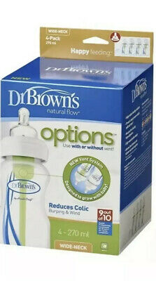 Dr Brown's Options Wide Neck Bottle (270 ml, Pack of 4) New In Box