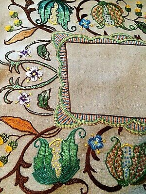 "unused - antique Arts & Crafts hand embroidered panel ~ 24"" x 15"""