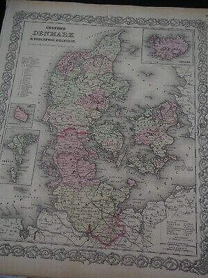 """Antique Map """"Colton's Denmark"""" Colton's General Atlas of the World 1886"""