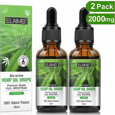 2 Pack Organic Hemp Oil Extract Pain Relief Reduce Stress Joint Support 2000mg