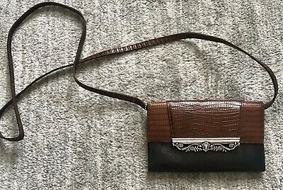 Brighton Croc Embossed Leather Wallet Purse Cross Body Organizer Mahogany Black