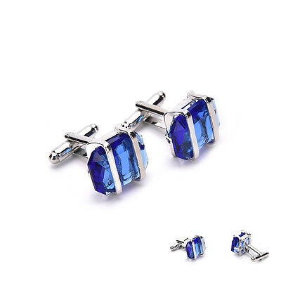 Blue Stainless Steel Mens Wedding Party Gift Shirt Cuff Links Cufflink 3C  MF