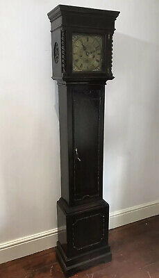 Jacobean Oak Case Barley Twist Pillered Grand Father Clock With 7 Day Movement