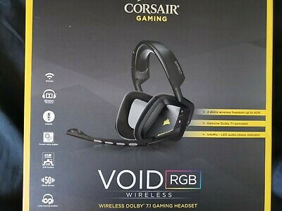 Black Corsair Void RGB Wireless Gaming Headset for PC