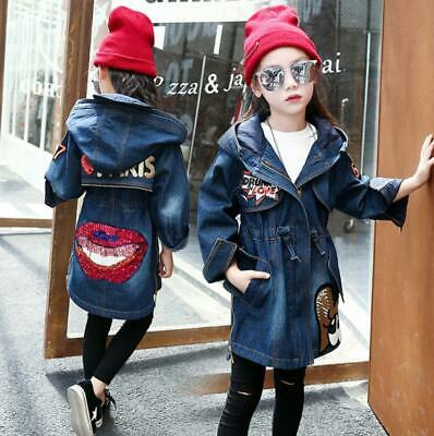Kids Girls Winter Fleece Lined Long Denim jean Jacket Hooded Coat parka Outwear