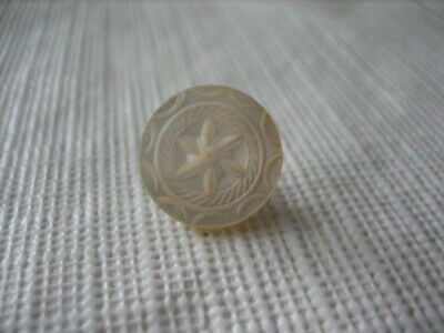 """Vintage Small 1/2 """" MOP Mother Of Pearl Shell Button - Carved Star - PD144"""