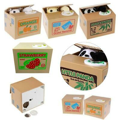 Automatic Stealing Money Cat Kitty Piggy Bank Coin Saving Box Case Kids Gifts