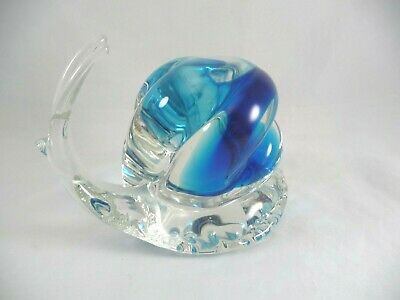 """Murano Italy 6"""" SNAIL Swirled Blue & Clear Glass Paperweight 
