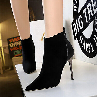 Ladies High Heel Stiletto Office Smart Ankle Boots Women Zip Up Faux Suede Shoes