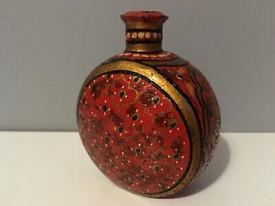 Small Asian Style Painted Metal Vase Bottle