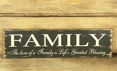 FAMILY Sign 11 x 3 Country Distressed Farmhouse Look NWT Love Life's Blessings
