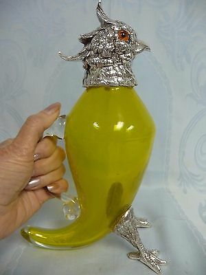 E. P. NICKEL SILVER & YELLOW GLASS DECANTER/JUG - PARROT w/GLASS EYES - AUSTRIA