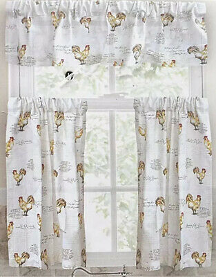 Envogue French Country Rooster Script Window Tier Pair+Valance Curtain Set - 3Pc