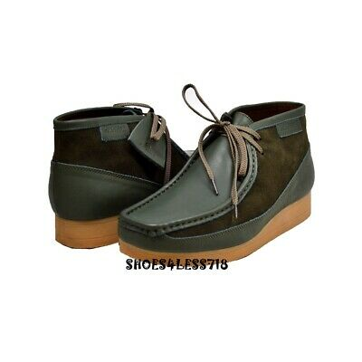 New British Walkers Original Exclusive Two Tone Green Leather Suede Wallabees