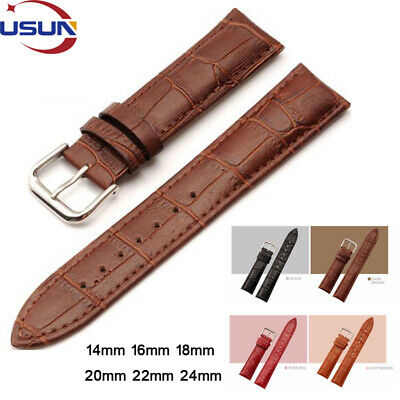 Usun Mens Genuine Leather Watch Strap Band Replacement Bracelet 16mm 18mm 20mm