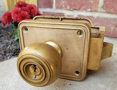 Antique Solid Brass Corbin Industrial Deco Nouveau Hardware Door Handle Pat 1899