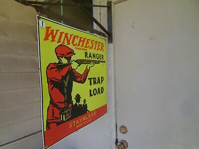 Winchester porcelain sign Double sided w/hanger