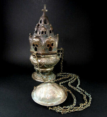 OUTSTANDING ANTIQUE 1800s. RUSSIAN ORTHODOX SILVER CENSER, INCENSE BURNER---