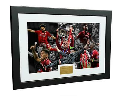 Signed 2019 Cup Salah Firmino Mane Klopp Liverpool FC Photo Picture Frame Gift