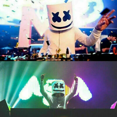 DJ-MarshMello LED Easter Prop Helmet Cosplay Bar Halloween Head Full Music Mask