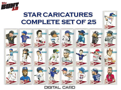 2019 STAR CARICATURES COMPLETE SET OF 25 Topps Bunt Digital Card
