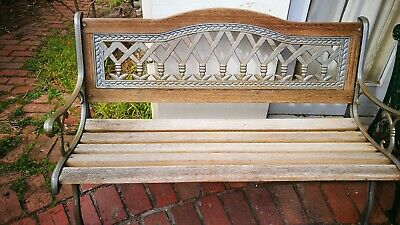 Antique Outdoor Bench Vintage Cast Iron Garden Patio Chair Seat, Big for 3 more