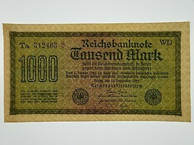 Germany 1922 One Thousand Mark Banknote in About Uncirculated Condition